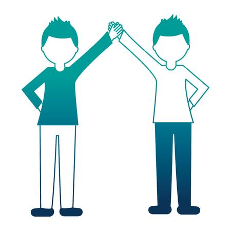 businesspeople holding hands together teamwork vector illustration neon design