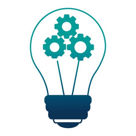 bulb idea creativity with gears inside teamwork vector illustration neon design