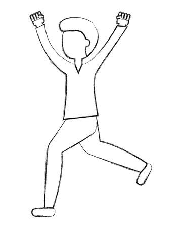 man cartoon standing character gesture arms vector illustration sketch