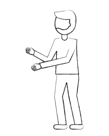 man cartoon standing character gesture arms vector illustration sketch