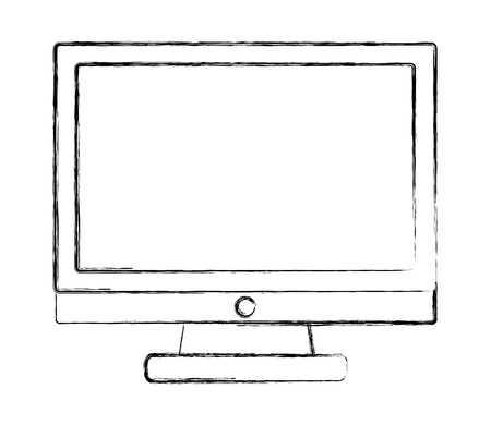 monitor computer device technology image vector illustration sketch