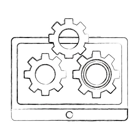 tablet computer and setting gears teamwork vector illustration sketch