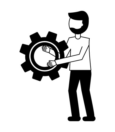 young man with gear isolated icon vector illustration design Foto de archivo - 102975129