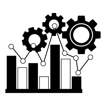 statistical graphics with gears isolated icon vector illustration design