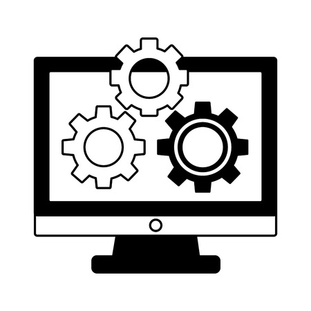 monitor computer with gears isolated icon vector illustration design Illustration