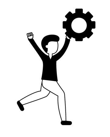 young man celebrating with gear isolated icon vector illustration design