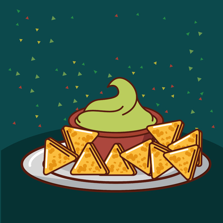 nachos with avocado sauce mexican food vector illustration