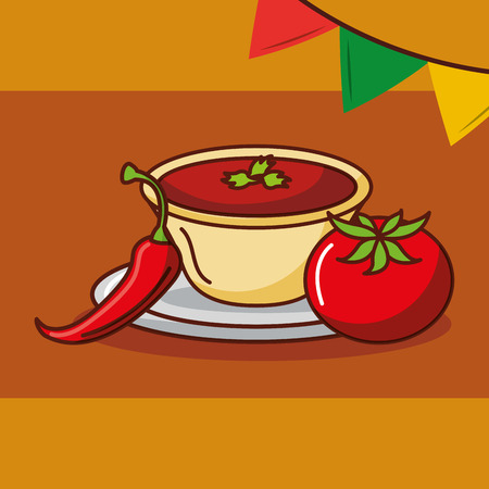sauce chili peper and tomato condiment mexican food vector illustration