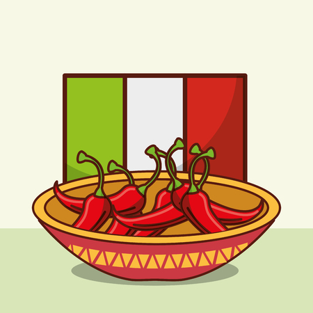 bowl with chili peppers mexican food flag background vector illustration