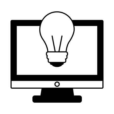 monitor computer with light bulb isolated icon vector illustration design