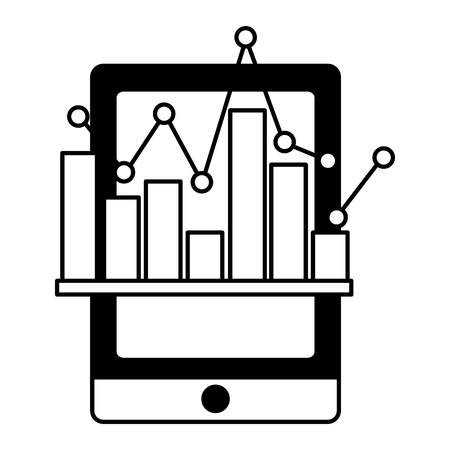 tablet device with statistical graphics isolated icon vector illustration design Ilustração