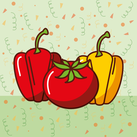 bell pepper and tomato fresh mexican food vector illustration