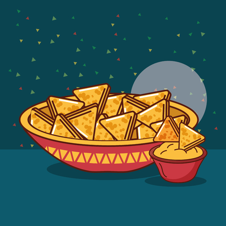 bowl nachos snack and cheese cream mexican food vector illustration