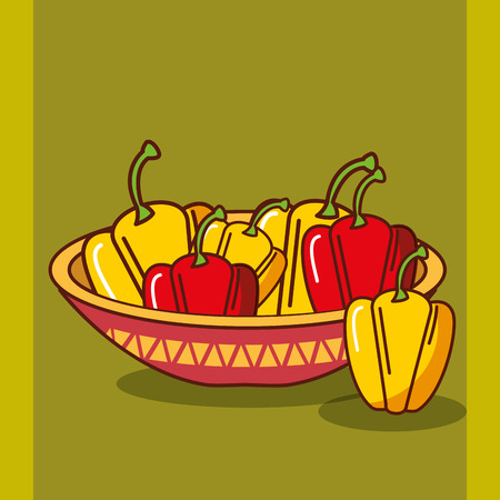 bowl with red and yellow bell peppers mexican food vector illustration