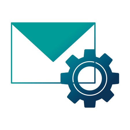 envelope mail with gear isolated icon vector illustration design
