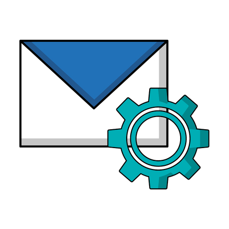 envelope mail with gear isolated icon vector illustration design Foto de archivo - 102989387