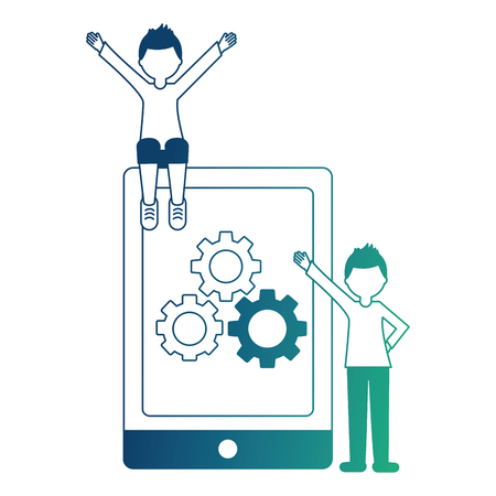 tablet device with gear and young men isolated icon vector illustration design