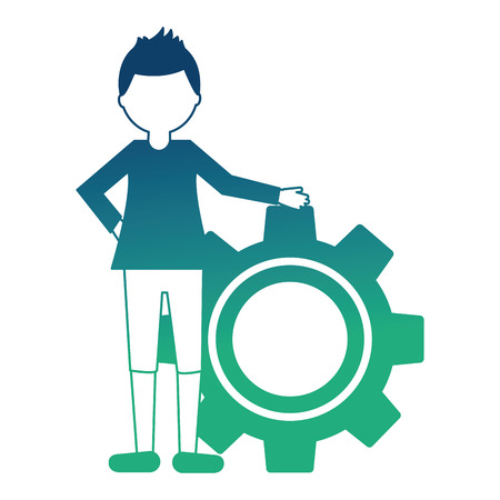 young man with gear machine isolated icon vector illustration design Ilustração
