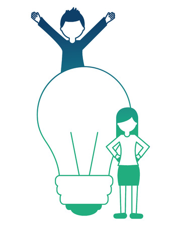 light bulb with young people isolated icon vector illustration design Çizim