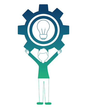 young man with gear and light bulb isolated icon vector illustration design Foto de archivo - 102989396