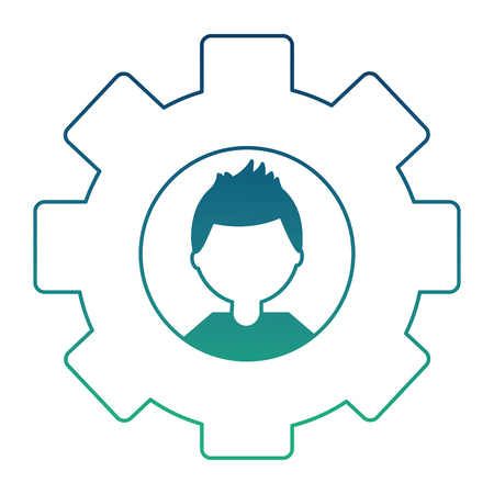 gear machine with head young man isolated icon vector illustration design
