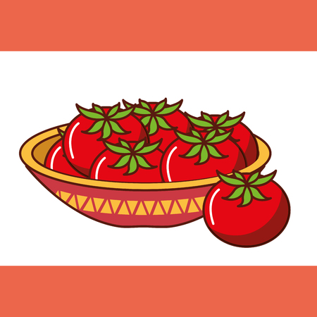 bowl with red tomatoes fresh mexican food vector illustration