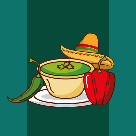 chili and bell pepper and hat mexican food vector illustration Фото со стока - 102989402