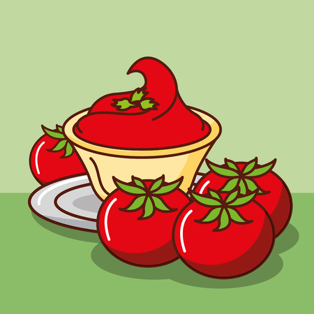 sauce of tomatoes tasty mexican food vector illustration