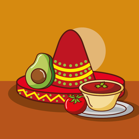 mexican food avocado and tomato sauce with hat decoration vector illustration