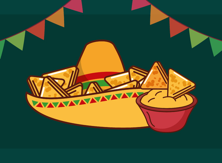 snack of nachos in hat mexican food vector illustration