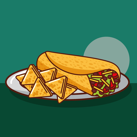 delicious  burritos and nacho in plate mexican food vector illustration