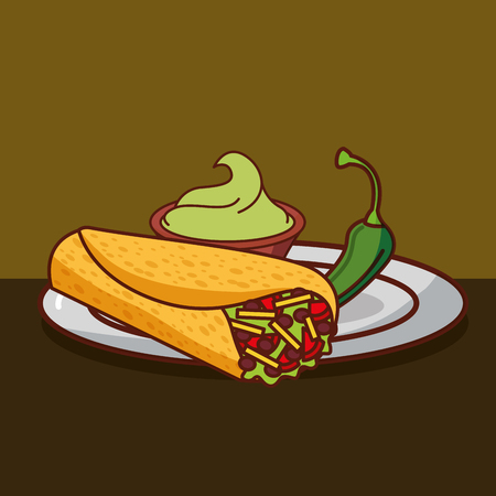 burritos guacamole and chili pepper in dish mexican food vector illustration Çizim