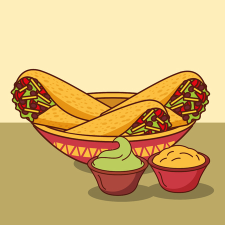 burritos in bowl with guacamole and cheese cream mexican food vector illustration