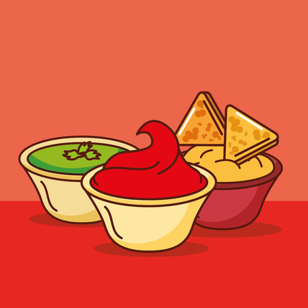 nachos with cream tomato cheese and guacamole mexican food vector illustration