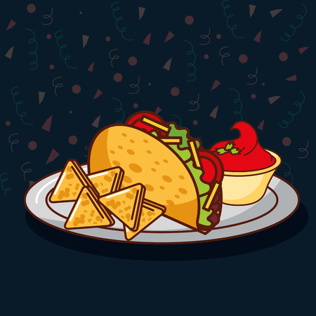 taco and nachos with tomato cream mexican food vector illustration Çizim