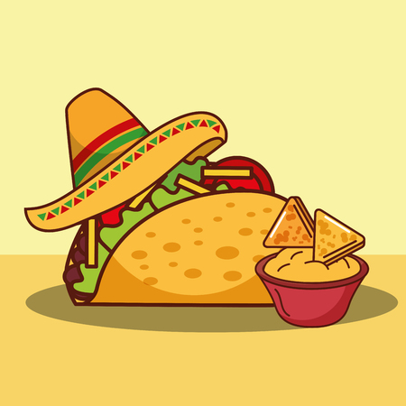 taco cheese sauce and nachos hat mexican food vector illustration