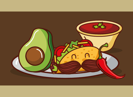 cartoon taco avocado chili pepper and sauce tomato mexican food vector illustration
