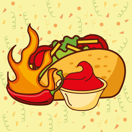 mexican food hot chili pepper taco and sauce tomato vector illustration