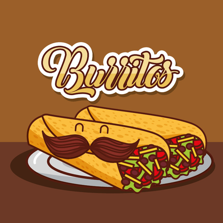 cartoon burritos with mustache in dish mexican food vector illustration