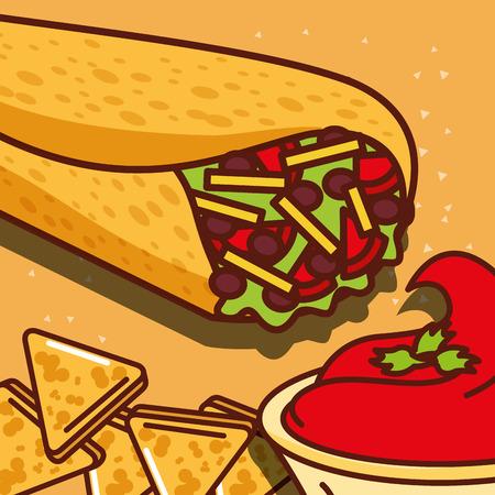 burritos and snack nachos tomato sauce mexican food vector illustration Illustration