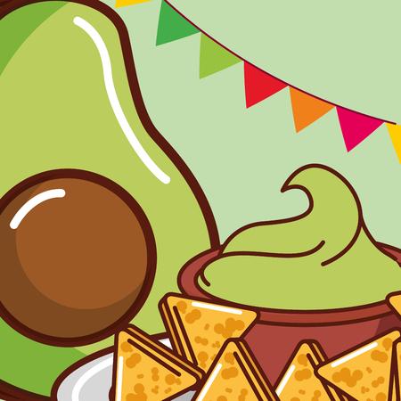 avocado guacamole and nachos snack mexican food vector illustration