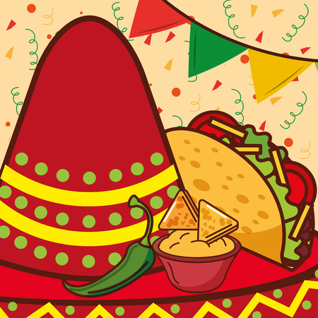 red hat taco nacho and cheese mexican food vector illustration Illustration