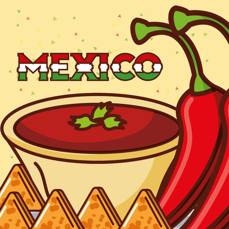 sauce chili pepper and nachos mexican food vector illustration Illustration
