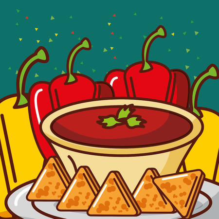 bell pepper and sauce nachos mexican food vector illustration