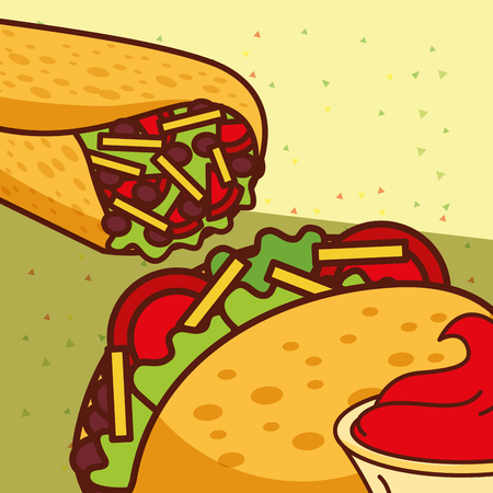 burrito and taco traditional mexican food vector illustration