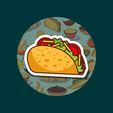 delicious taco fresh hot mexican food vector illustration