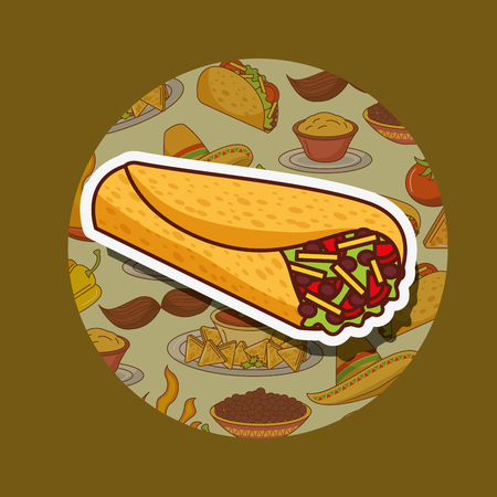 delicious fresh burrito mexican food vector illustration