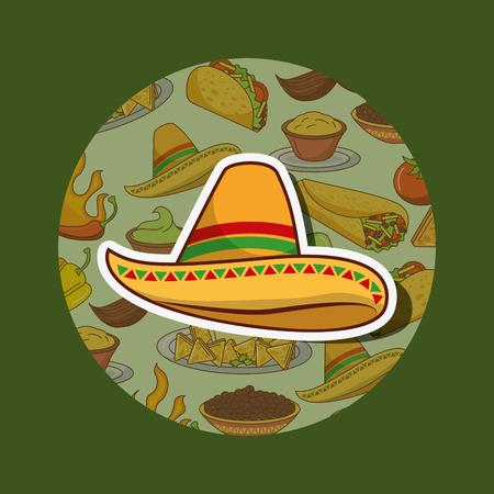 hat nacho traditonal culture mexican food vector illustration