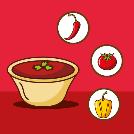 sauce hot chili tomato and yellow pepper mexican food vector illustration