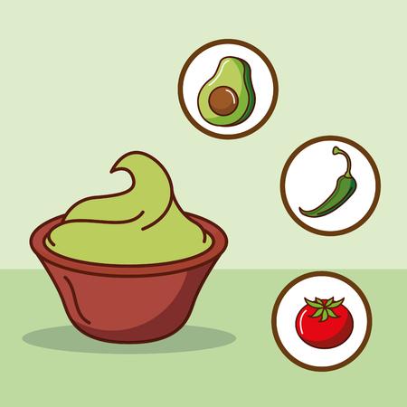 guacamole avocado chili pepper and tomato mexican food vector illustration